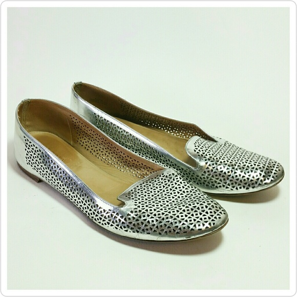 02e56a152e0 J. Crew Shoes - J. Crew Cleo Loafers Perforated Silver 11 Flats